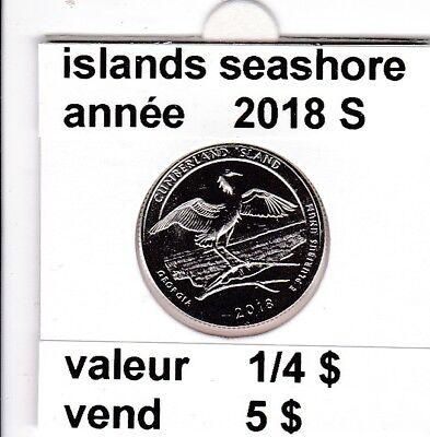 e1)pieces de 1/4 dollar islands seashore 2018 S