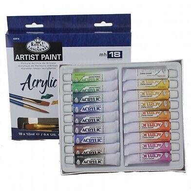 20 pc Acrylic Paint Tubes Set 18 Colors 2 Brushes Royal -