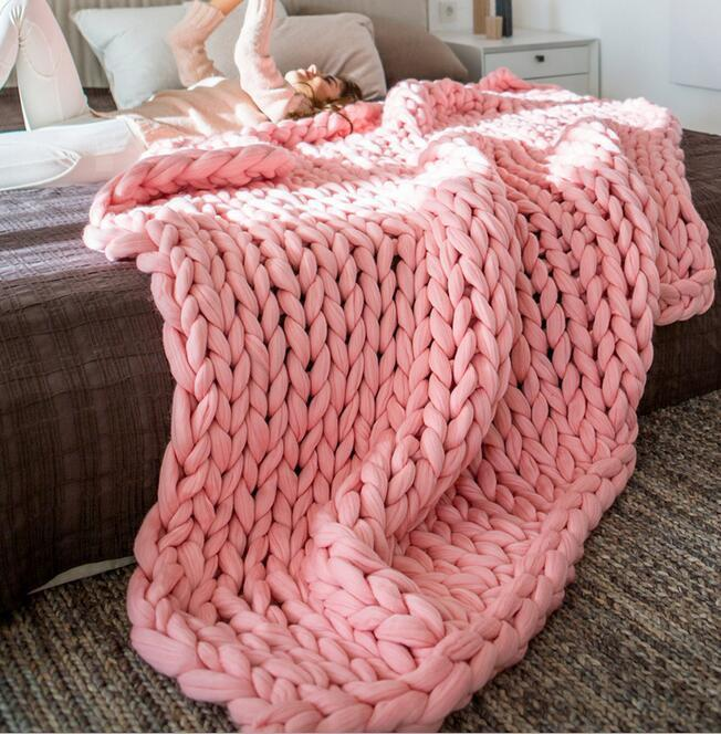 MultiColor Große Warme Knitted Strickdecke Thick Garn Wolle Bulky Chunky Rosa