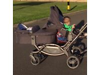 ABC Design Zoom Twin Pram with one carry cot and 2 buggy seats