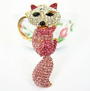Fox-Long-Tail-Lovely-Pendent-Charm-Pink-Purse-Bag-Swarovski-Crystal-Key-Chain-Gi