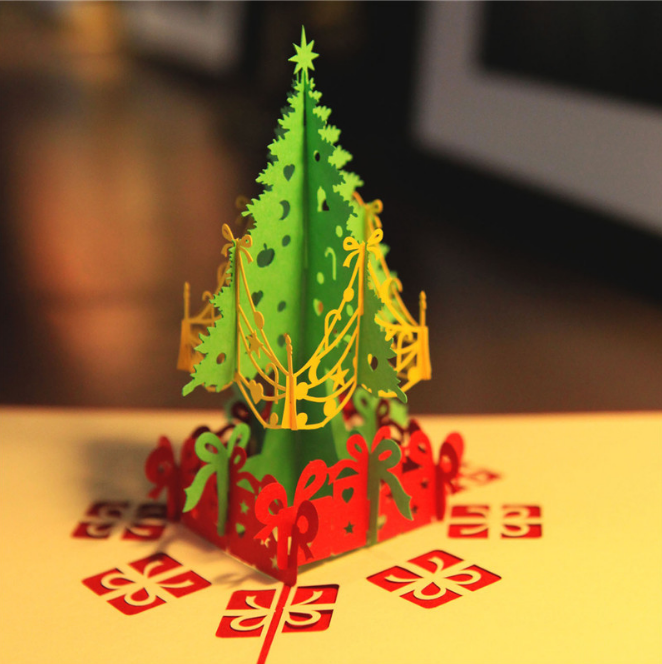 3D Pop Up Origami Greeting Christmas Stereoscopic Christmas Cards tree gift
