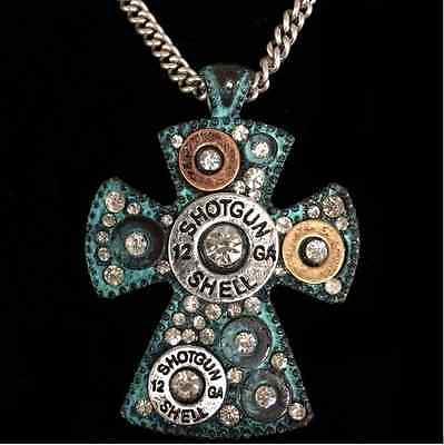 - Western 12 Gauge Shotgun Bullet Shell Duo Tone Cross Pendant Chain Necklace