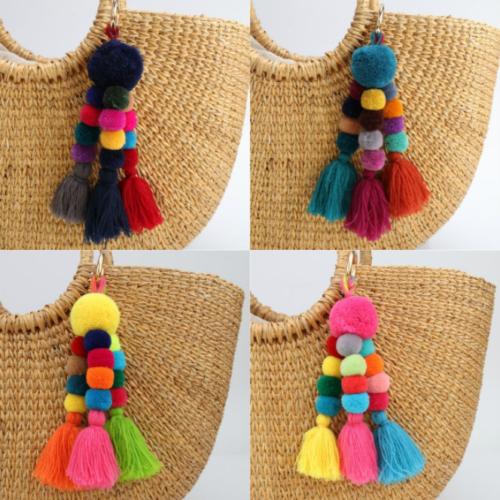 Colorful Fashion Tassel PomPom Charm Pendant DIY For Keychai