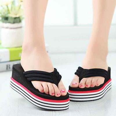 Women Summer Shoes High Heels Beach Sandals Wedge Platform Flip Flops Slippers