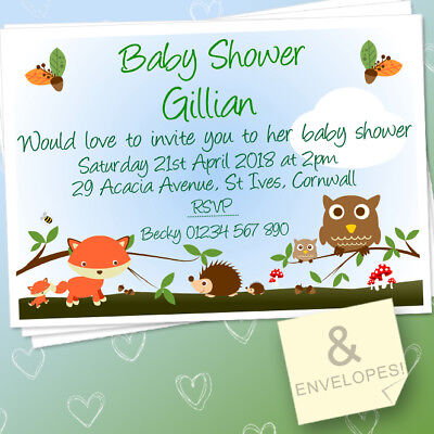 10 PERSONALISED BABY SHOWER INVITATIONS BOY / GIRL & ENVELOPES FOREST - Woodland Creatures Baby Shower Invitations
