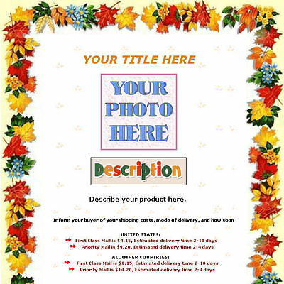 - AUCTION TEMPLATE Autumn Leaves Design Border - FREE Shipping