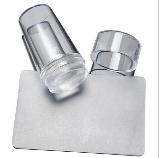 Clear Nail Art Manicure DIY Stamping Transfer Stamper & Scraper Plate Tool Kit