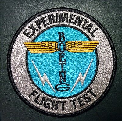 "BOEING EXPERIMENTAL FLIGHT TEST PATCH, 4"", NEW, WITH HOOK AND LOOP BACK"