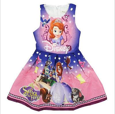 2018 Girls Disney Sophia Princess Dress Summer Sleeveless Party Holiday Dresses
