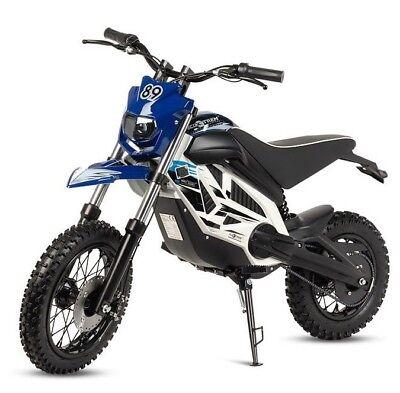 Moto electrica potente motocross cross bateria 1000w 36v infantil azul y blanca