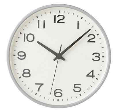 New MUJI Wall Clock Plain Silver Large Analog Clock Quarts F/S Japan