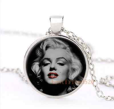 Classic Marilyn monroe Cabochon Glass Silver Necklace for woman Jewelry