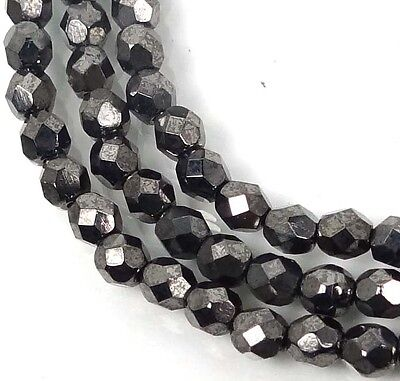 50 Firepolish Czech Glass Round Faceted Round Beads - Hematite 4mm
