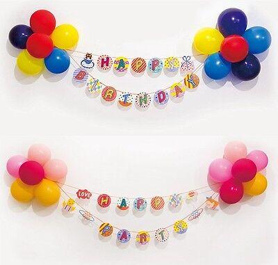 Girlande mit Ballons Happy Birthday Party Luftballons Geburtstag Set