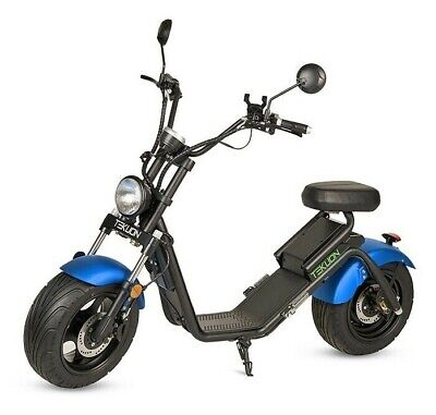 Moto electrica matriculable scooter 1200w bateria Caigiees CityCoco azul y negra