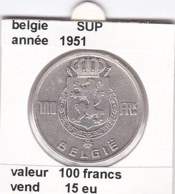 FB )pieces de 100 francs albert I 1951  belgie