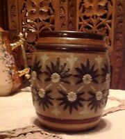 C1887. OLD ROYAL DOULTON LAMBETH FLOWERED CANNISTER