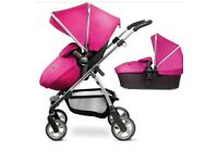 AS NEW Silver cross wayfarer in raspberry pink pram pushchair and carrycot excellent condition