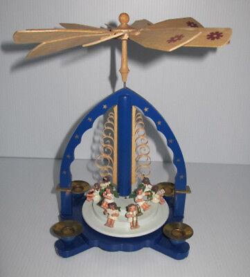Original Ergebirge German Christmas Wooden Musical Angels Pyramid Carousel