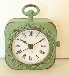 Urban Homestead 4 Pewter Mantel Tabletop Desk Shelf Clock Distressed Mint Green