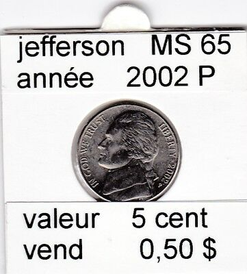 e2 )pieces de 5 cent 2002 P  jefferson