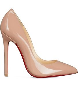 Christian-Louboutin-Pigalle-120-Patent-Nude-Heels-Shoes-Courts-Uk-7-5-Eu-40-5