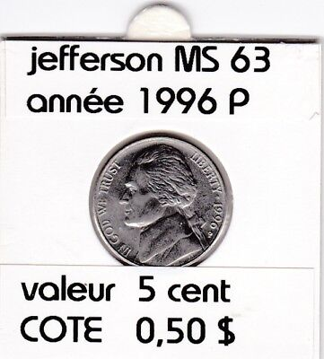 e 2 )pieces de 5 cent jefferson  1996 P    voir description