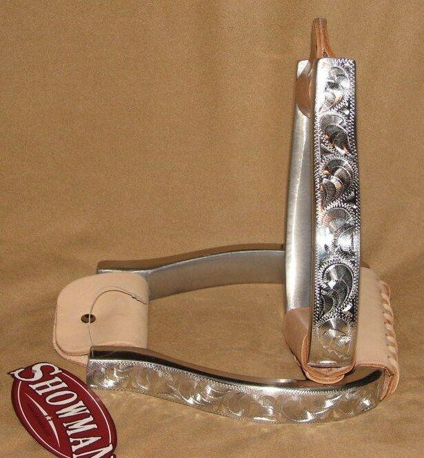 Engraved Polished Aluminum Western Horse Saddle Stirrups Barrel Gymkhana Rodeo