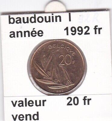 FB 3 )pieces de baudouin I   20 francs  1992 belgique