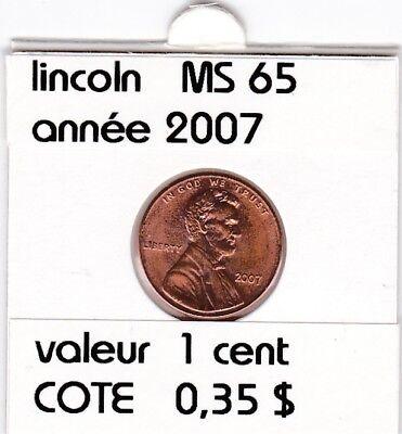 e2 )pieces de 1 cent  2007  P  lincoln