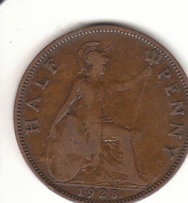1928 Half Penny George V  1/2d Collectors Coin's