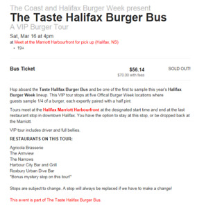 4 tickets for the Halifax Burger Week Bus Tour (March 16 @ 4pm)