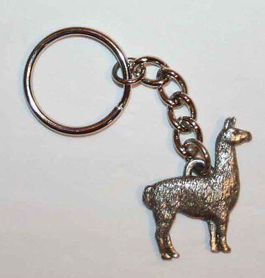 LLAMA Fine Pewter Keychain Key Chain Ring Fob USA Made