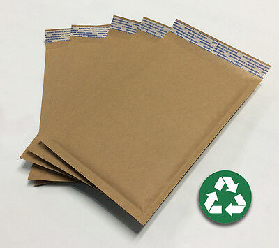 Size 000 4.25x7 Recycled Natural Brown Kraft Bubble Mailer Usa Made