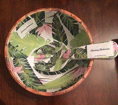 Tommy Bahama Palm Leaf Bird of Paradise Salad Bowl Salad Fork Spoon Bamboo Bamboo Leaf Bowl