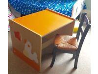 Wooden child's table desk.scandinavian.red,orange.nursery furniture.seal&fish!fun childrens office!