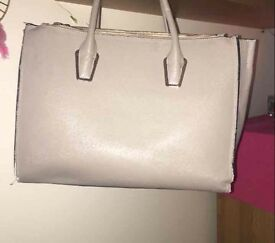 Beige large tote handbag