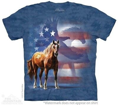 Wild Star Flag T-Shirt by The Mountain. Patriotic Horse Equine Eagle Sizes - Patriots Xl T-shirt