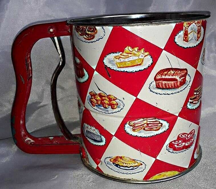 Vintage 1950s Handi-Sifter Androck • Red & White Checkered • Dessert Graphics!