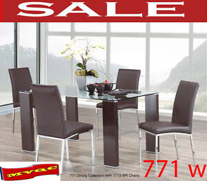 dining & dinette room sets, glass top tables, arm chaises, 771w