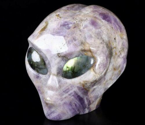 Large DREAM CHEVRON AMETHYST  Crystal  Alien Skull, Labradorite Eyes