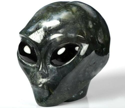 """4.1"""" GREEN MOSS AGATE Carved Crystal  Alien Skull, with Black Obsidian Eyes"""