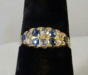 Victorian 18 Carat Gold, Multi Diamond & Sapphire Ring Size Q, Birmingham1898