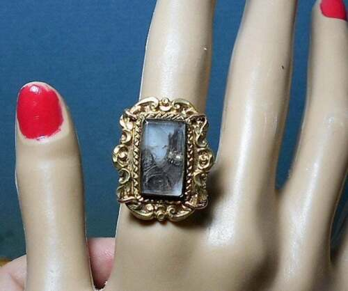 Victorian Mourning Hair RING Curlicues w/ Seed Pearls Under Glass GP SiZe 7 1/2