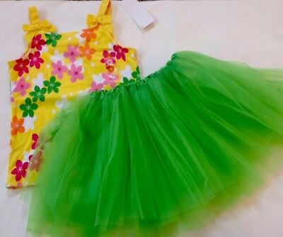 NWT 2pc OUTFIT GYMBOREE Yellow Flower Tank Top/BOUTIQUE Green Tutu Skirt 5