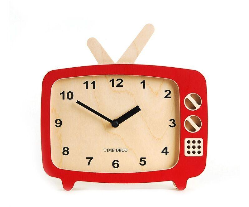 TV Wooden Wall Clock & Table Clock Retro Art Design Home Decor Interior - Red