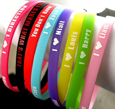 One Direction Wristband - Set of 8 I Love One Direction Silicone Wristbands w/ Member Names