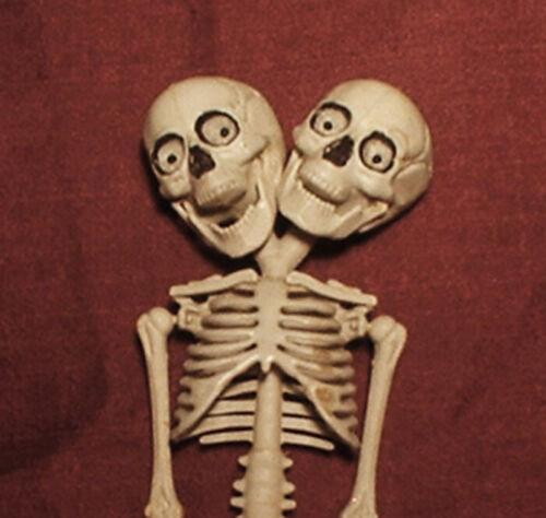 "HAUNTED Creepy Double Head Skeleton doll ""EYES FOLLOW YOU"" Halloween prop"