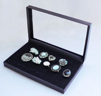Sale Ring Display Jewelry Tray Black Velvet Pad Box 36 Slot Insert Holder Case